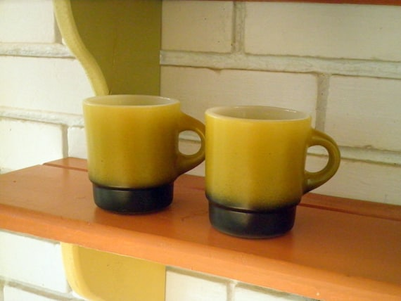 Vintage Anchor Hocking Fire King Two Toned Olive Green Cup / Mug - Set of 2, Circa 1950s