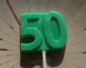 8 50th Birthday Anniversary Lollipops Party Favors Candy Golden