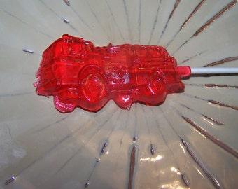 16 Fire Truck Party Favor Lollipop Sucker Candy