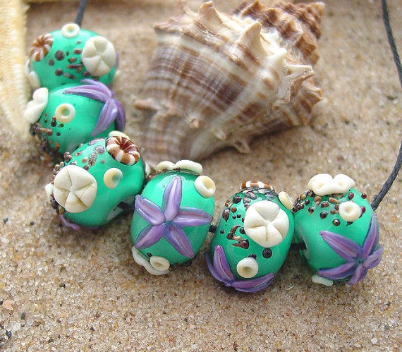 Teal Sea - 6 Ocean Themed Round Beads - SRA