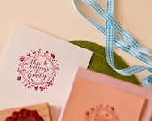 HOLIDAYS. WEDDINGS. Flowers and Calligraphy. ORIGINAL Wreath stamp.