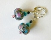 Pink Turquoise Earrings with Swarovski Crystals and Lampwork Beads