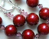 Wine Red Pearl Bracelet and Earrings with Swarovski Crystals and Silver