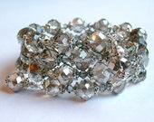 Crystal Silver Bracelet  Silver Coil Bracelet Silver Wrap Bracelet Silver Crystal Bracelet