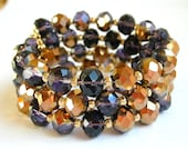 Purple and Gold Bracelet Purple and Gold Coil Bracelet Purple and Gold Wrap Bracelet Crystal Bracelet
