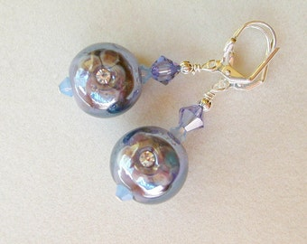 Lavender Earrings, Flower Earrings, Lampwork Glass Earrings