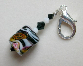 Zipper Pull  Lampwork Purse Pull  Black and White Pull
