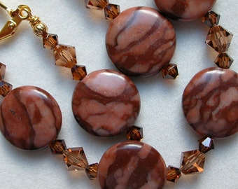 Brown Bracelet Earrings Chocolate Agate Bracelet Swarovski Crystal Gold