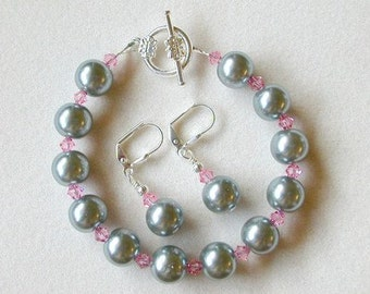 Silver Pearl Bracelet Set with Pink Swarovski Crystals in Silver