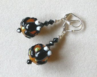 Frog Earrings in Caramel Brown and Black Swarovski Crystals