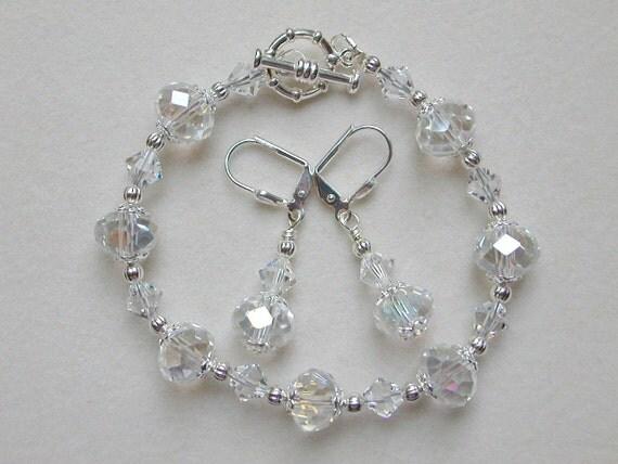 Crystal Bracelet Earrings  Clear in Silver