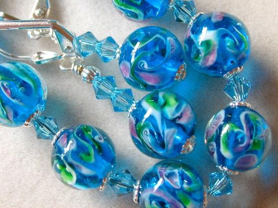 Blue Bracelet Earrings Lampwork beads Swarovski Crystal Aqua Green Pink  Deep Sea