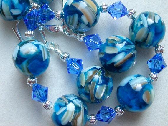 Blue Bracelet Earrings Blue Shell Bracelet Swarovski Crystal Silver