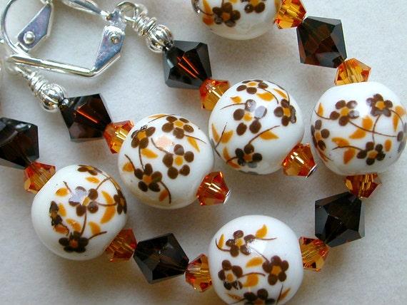 Orange Brown Bracelet Earrings Porcelain Flowers  Forget Me Not