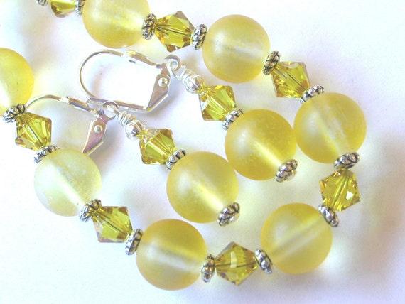 Lemon Lime Yellow Bracelet and Earring Set  Swarovski Crystal Silver