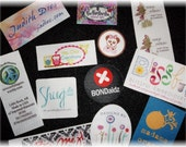 100 SELF ADHESIVE Custom Printed White Poly Clothing/Accessory Labels - Sewing tags - Unlimited Colors - FREE Die Cutting