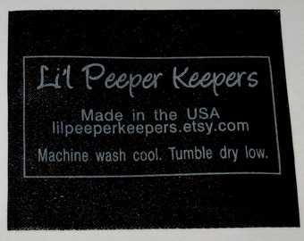 Custom BLACK Satin Clothing Labels - Silver or Gold Imprint - SCREENPRINTED - 100 - made in USA