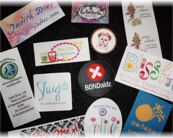 100 IRON ON Custom Printed Clothing Labels - Sewing Tags - Digitally Printed - Unlimited Colors - No Fray - FREE Die Cutting