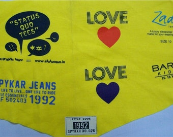 250 Iron On Clothing Labels - OPAQUE TAGLESS Transfer Labels - Sewing Tags - For Any Color Fabric - TWO Color Imprint