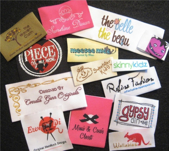 New Low Minimum - 100 Use Your Own Artwork - Custom Woven Damask Labels - Up to 8 Colors - Made in the USA