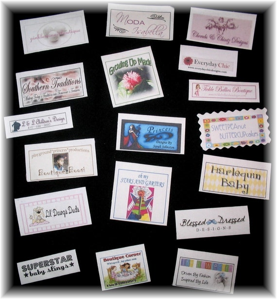 100 custom printed boutique clothing labels full for Boutique labels clothing