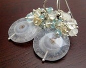Coralis Earrings - solar quartz and silver with gemstones Free Shipping