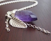 Trinkete Necklace - amethyst and sterling silver Free Shipping