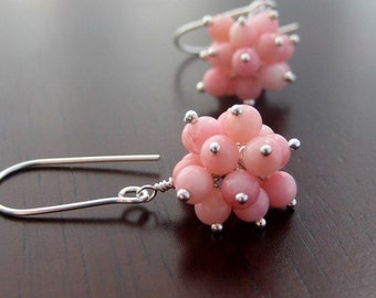 Pink Coral Cluster And Sterling Silver Gemstone Drop Earrings