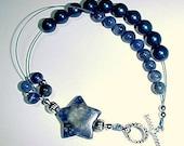 Row Counter Bracelet - Knitting Stitch Markers - Stardust and Denim - Sodalite Gemstones- Item No. 604