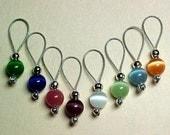 Stitch Markers -  Rainbow Cats Eye - With Storage Tin - US  5 - Set of 8 - Item No. 510