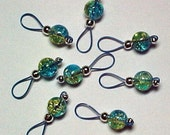 Knitting Stitch Markers - Yellow Green and Aqua Crackle Glass  - US 10 - Item No. 646