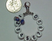 Red, White, and Blue Millefiori 10 Row Counter Stitch Marker - The Original Mighty Mini With Lobster Claw Attachment - Item No. 813