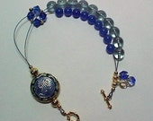 Blue Heaven - Dual Purpose Stitch Marker Holder and Abacus Row Counter Bracelet - Item No. 138