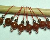 Knitting Gemstone Stitch Marker - Red Aventurine - US 5 - Item No. 469
