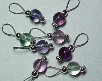 Rainbow Fluorite Stitch Markers - Storage Tin Included -   US 10 - Item No. 614