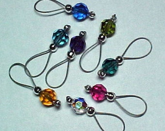 Stitch Markers - Rainbow Swarovski Crystals -   Snagfree Soft Loop - US 10 - Item No. 619