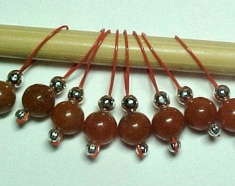Knitting Gemstone Stitch Marker - Red Aventurine - US 5 - Item No. 469