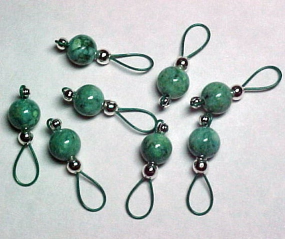 Stitch Markers - Mint Green Fossil Beads On Forest Green  Wire - US 5 - Set of 8 - Item No. 783