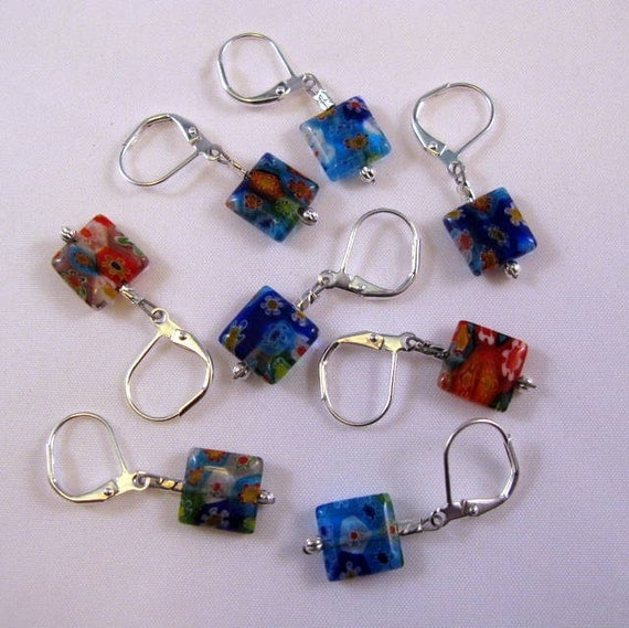 Removable Stitch Markers - Multi-Colored Millefilori Beads With Storage Tin -  Set Of 8 - Item No. 766
