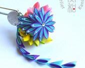 Traditional Chrysanthemum and Lotus Ball with Crystal Swarovski / Dangling Petal String Tsumami Kanzashi