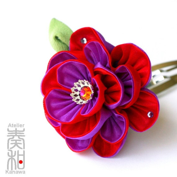Deep Love - Botan (Peony) Filigreed Tsumami Kanzashi with Crystal Swarovski