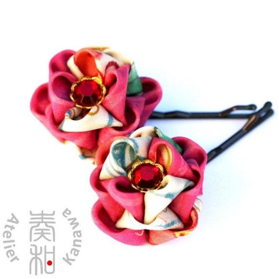 SALE - A set of Rose Vintage Kimono Tsumami Kanzashi Bobby Pins with Rhinestone