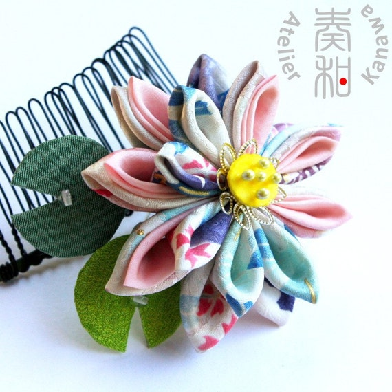Reserved - Large Vintage Kimono Lotus Tsumami Kanzashi Comb with Cute Water Drop on Leaves
