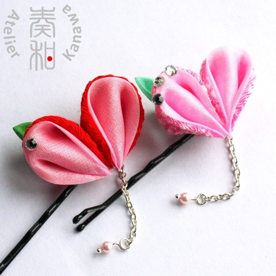Heart and Peach Tsumami Kanzashi Bobby Pin with Morning Dew - UPSIDE DOWN Go Green Crying Heart