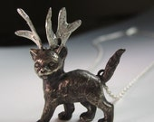 Storm the reindeer kitty, sterling silver cat pendant with antlers