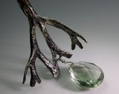Seaweed and Water Drop, Sterling  silver necklace with Prasiolite