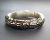 Men's Willow twig ring, sterling silver, made to order, your size