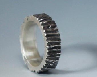 Men's Tree Trunk ring, sterling silver, 7mm, your size