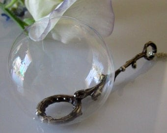 Medium Sterling bubble wand, twig, dark finish, made to order