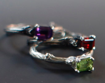 Ready to ship, sterling and semiprecious solitaire rings